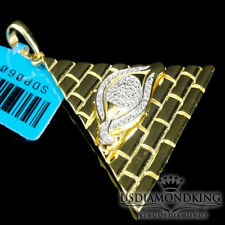 Men 10k Yellow Gold Finish Eye of Horus Pyramid Genuine Diamond Pendant Necklace