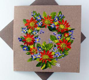 "Real Painting: Handpainted Card ""Garland of Flowers #2"" w/env by Judith Rowe"