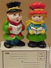 Christmas Vintage Greeting Card Candles Boy & Girl Carolers #13024C