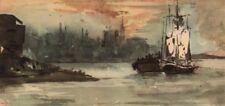 """EUGENE DELACROIX. """"Le Port d'Anvers"""". Belgium. Lithograph of watercolour 1947"""