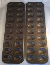 "2 Mini SHELL MADELEINE BAKING PANS 20 Cups Molds Chocolate Candy 1.5"" X 1.125"""