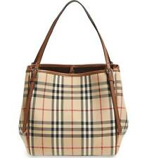 BURBERRY 'Small Canter' Horseferry Check & Leather Tote Honey/Tan - $895