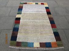 Traditional Hand Made Persian Oriental Gabbeh Rug Wool Cream Spoty 200x130cm