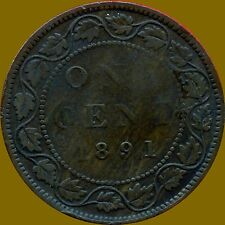 1891 (Small Date, Small Leaves) Canada Large 1 Cent Coin