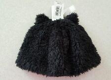 NWT Old Navy Boy Girl Unisex 6-12 MONTHS Fuzzy Black Sherpa Winter Hat w/ Ears