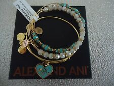 Alex and Ani COLOR INFUSION MOM SET OF 3 Shiny Gold Bangles New W/Tag Card & Box