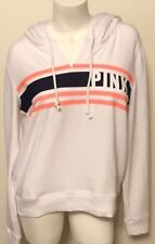 """NWT VICTORIA'S """"PINK"""" WHITE CAMPUS HOODED GRAPHIC SWEATSHIRT LARGE MSRP $46.95"""