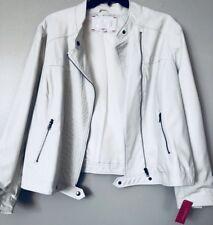 Xhilaration Women Plus Size 20/22W White Faux Leather Full Zip Lined Moto Jacket