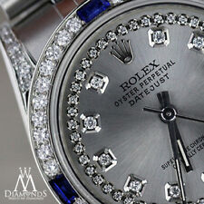 Rolex 31mm Datejust Silver Color String Dial Sapphire & Diamond Women's Watch