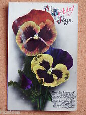 R&L Postcard: Birthday Joys, Pansy Pansies Flowers, Ward Lock