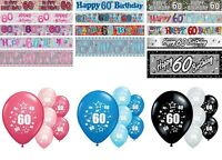 60th BIRTHDAY BANNERS PARTY DECORATIONS PINK BLUE BLACK WALL PARTY BANNERS