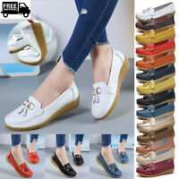 UK 2.5-9.5 Womens Loafers Mocassin Flat Shoes Comfy Casual Real Leather Shoes