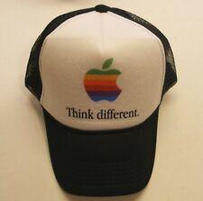 Apple Computer Rainbow Logo Think Different Hat - Black w/Black Letters