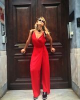 ZARA Red Silky Wrap Crossover Overall Jumpsuit size XS S M L  SOLD OUT IN SHOPS