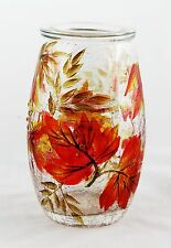 Autumn Leaf Crackle Glass Tall Tea Light Candle Holder Yankee Candle NEW fall