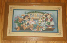 Home Interiors God Bless Our Home Picture Bears Bunnies Quilt Ivy Country 22x14