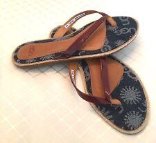 UGG Sandals New  Flip Flops Leather & Denim size 6