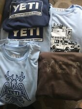 5 X YETI Coolers Men's COTTON T-ShirtS Sz.LARGE  TOP GREAT DESIGNS