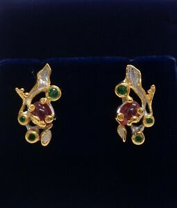 Fine Ruby and Emerald Earrings 925 Silver - Unusual - 22mm x 11mm