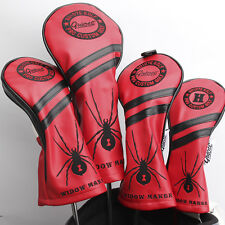 NEW RED WIDOW MAKER PREMIUM PU LEATHER HEAD COVER SET 4 COVERS D,3,5 & HYBRID