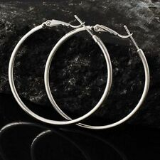 """Nice New Silver White Gold Plated Smooth & Shiny Round 2.25"""" Hoop Earrings"""