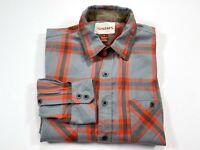 SIMMS S Fishing Button Front Long Sleeve Shirt Men Small Gray Orange Check