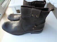 Men's Next Brown Leather Chelsea Boots / Zipped Ankle Boots Size 9 NEW £65