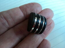 FAB ART DECO  WOODEN  BUTTON  BLACK 3/4 X 1/2  INCH