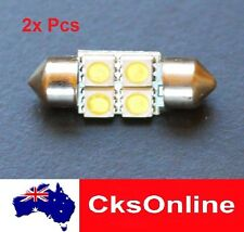2 x HIGH POWER 31mm FESTOON 4 SMD 5050 LED INTERIOR DOME LIGHT WHITE DC12V