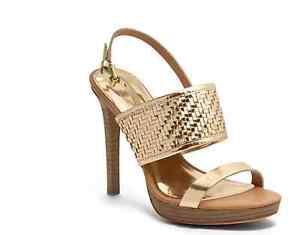 $228 NEW Authentic COACH STEFFI PLATFORM HIGH HEELS Wedges Shoes Gold 6.5 B
