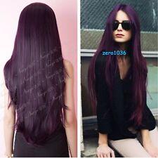 sexy women 80cm long black purple straight cosplay party wig Z