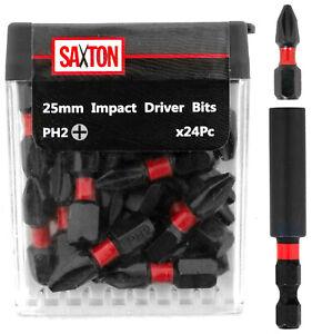 Saxton 24x PH2-25mm Impact Duty Screwdriver Drill Bits Set + Bit Holder