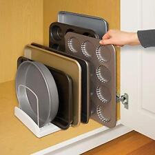 Kitchen Cupboard Bakeware Rack Plate Pan Baking Tin Cutting Board Holder White