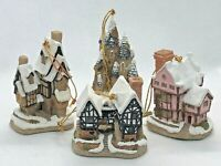 DAVID WINTER Cottages Christmas Ornaments Set of 4 (Fairytale Castle & More)