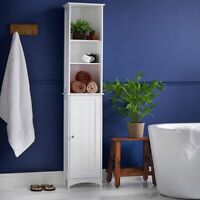 Tall Bathroom Storage Unit Cabinet White Shelves Drawer Wooden Standing Drawers