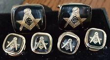 Gold Square & Compass on black full cuff link and button Studs set rectangle