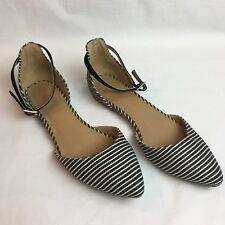 Navy Striped Flat Shoes Ankle Strap 6.5  Kimora White  Buckle Mix No 6