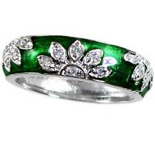 GREEN ENAMEL FLORAL CZ BAND RING_SIZE-9__925 STERLING SILVER - NF