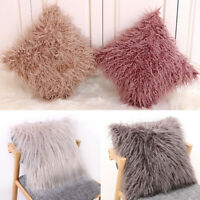 "16"" Square Long Plush Fluffy Furry Home Sofa Cushion Cover Throw Pillow Case"