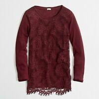 NWT New J.CREW Women's MEDIUM Maroon Red LACE FRONT Tee Shirt TOP