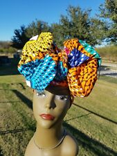 Orange, Blue And Yellow Headwrap;African Headwrap; Ankara; African Fabric