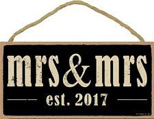 Novelty-Fun Wood Sign-Plaque--MRS. & MRS. est. 2017