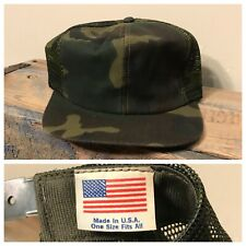 Vtg Camo Hat Snapback Trucker Cap Blank Camouflage Mesh made in USA Deadstock