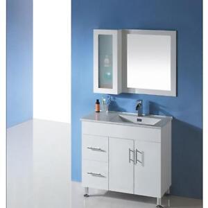 900mm Round Handle Round Legs Bathroom Vanity Ceramic Top On legs or Kickboard