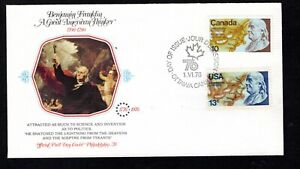 CANADA FIRST DAY COVER JOINT ISSUE WITH UNITED STATES - 1976 - BENJAMIN FRANKLIN