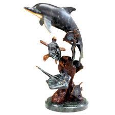SPI Home Dolphin & Undersea Friends Sculpture Brass Marble Ocean Sealife Statue
