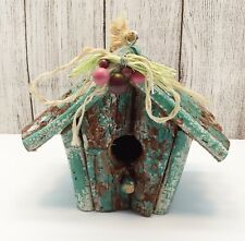 🔴 Vintage Chippy Wood Teal Blue Green Hanging Bird House Decorated on Front