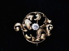 Elegant Art Nouveau 14K round Brooch with Old Mine Diamond center