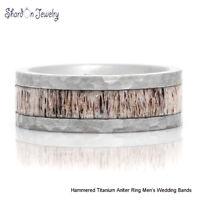 8mm Mens Hammered Titanium Antler Ring Outdoor Wedding Bands Antler Wedding Band