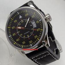 43mm Planca schwarzes Zifferblatt Datum MIYOTA Automatikwerk Mens Watch